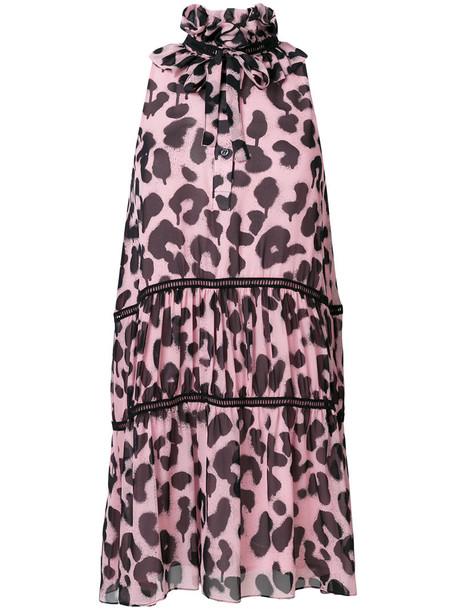BOUTIQUE MOSCHINO dress halter dress women print silk purple pink leopard print