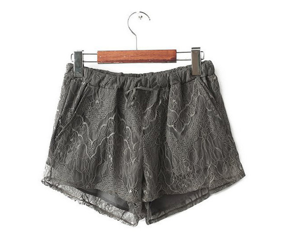 casual chic chic lace shorts drawstring shorts pocket blogger shorts