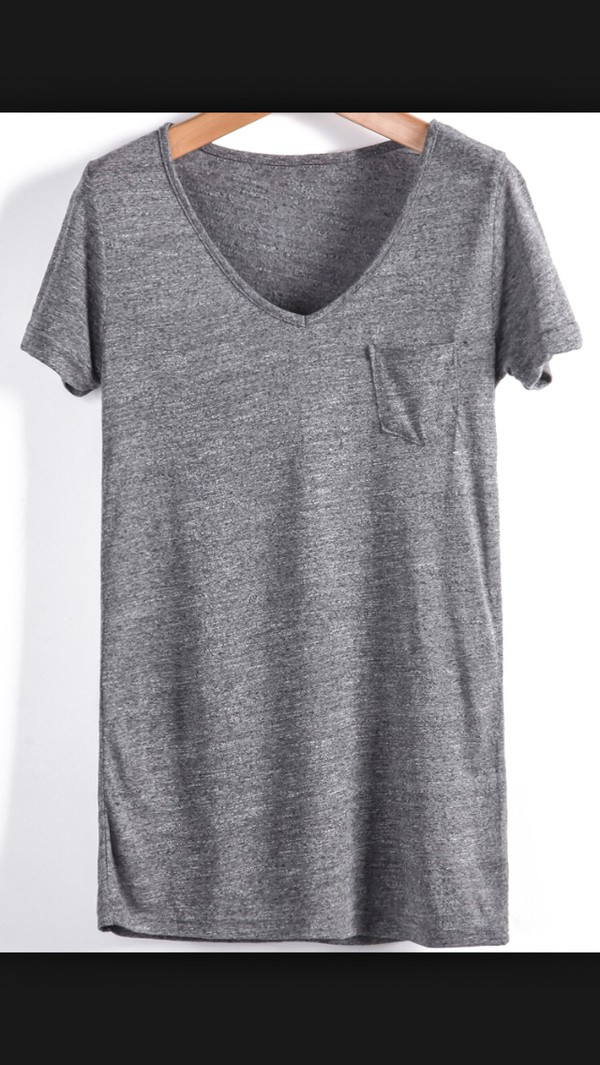 t-shirt grey t-shirt v neck loose tshirt fashion trendy outfit pocket t-shirt