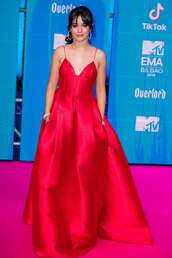 dress,red dress,red,mtv,camila cabello,gown,red carpet dress,celebrity style