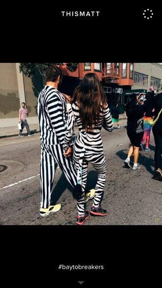 jumpsuit black white stripes shirt pants zebra shoes sneakers