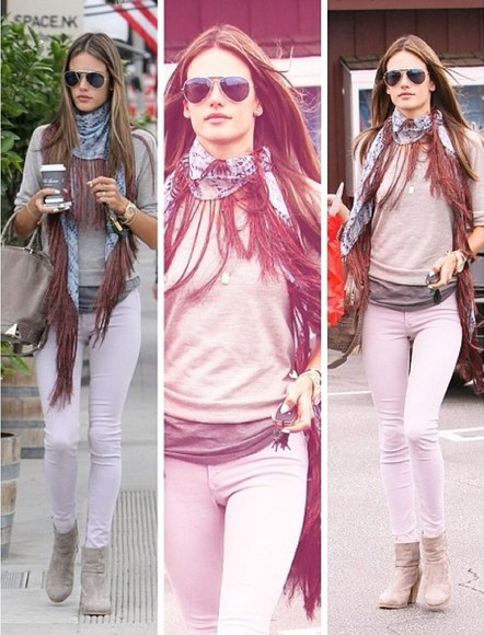 alessandra ambrosio pink jeans skinny black white model victoria's secret new york sunglasses sweater red fashion glamour style casual love like jacket tank top scarf