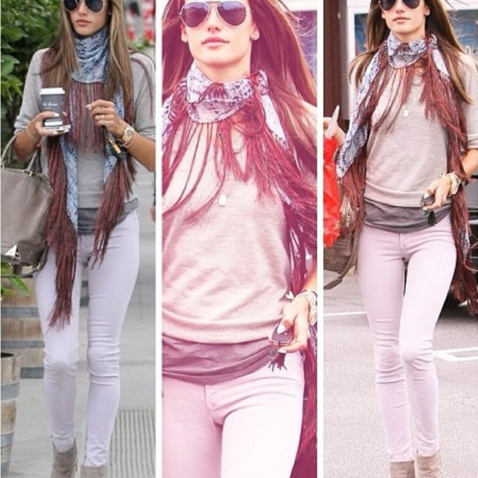 scarf fashion red black white sweater jacket jeans love tank top style pink skinny alessandra ambrosio model victoria's secret new york sunglasses glamour casual like scarf red