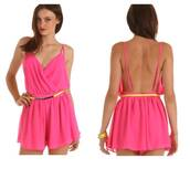 jumpsuit,pink,fuchsia,summer,open back