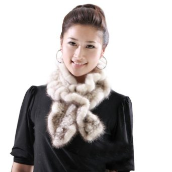 Ferrand women's string real genuine mink fur scarf/shawl/wrap neck warmer beige at amazon women's clothing store: fashion scarves