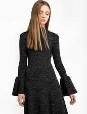 dress,grey marle ribbed bell sleeve dress,bell sleeve dress,cute dress,winter dress,special occasion dress,bell sleeves,bell sleeve sweater,long sleeve dress,holiday dress,winter outfits
