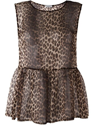 blouse sheer women nude print leopard print top