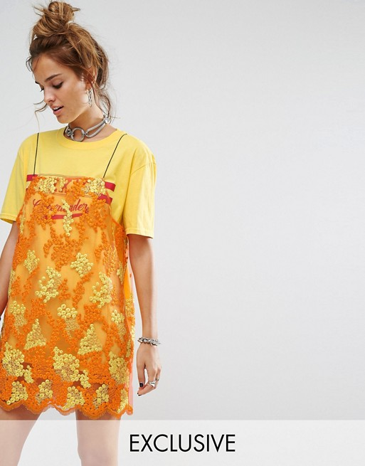 Reclaimed Vintage Inspired T-Shirt Dress With Smock Lace Overlay at asos.com