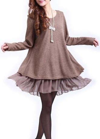 dress brown dress flowy bows dress