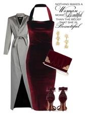 bag,halter neck dress,clutch,burgundy and gold,burgundy dress,velvet dress,trench coat,grey,heels,burgundy shoes