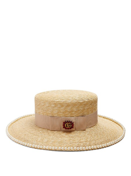 gucci embellished hat straw hat beige