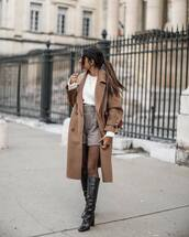 coat,brown coat,knee high boots,tights,plaid shorts,white sweater,brown bag