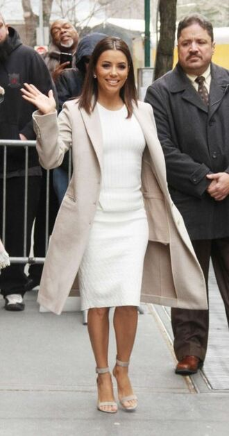 dress bodycon dress midi dress spring spring outfits eva longoria coat sandals