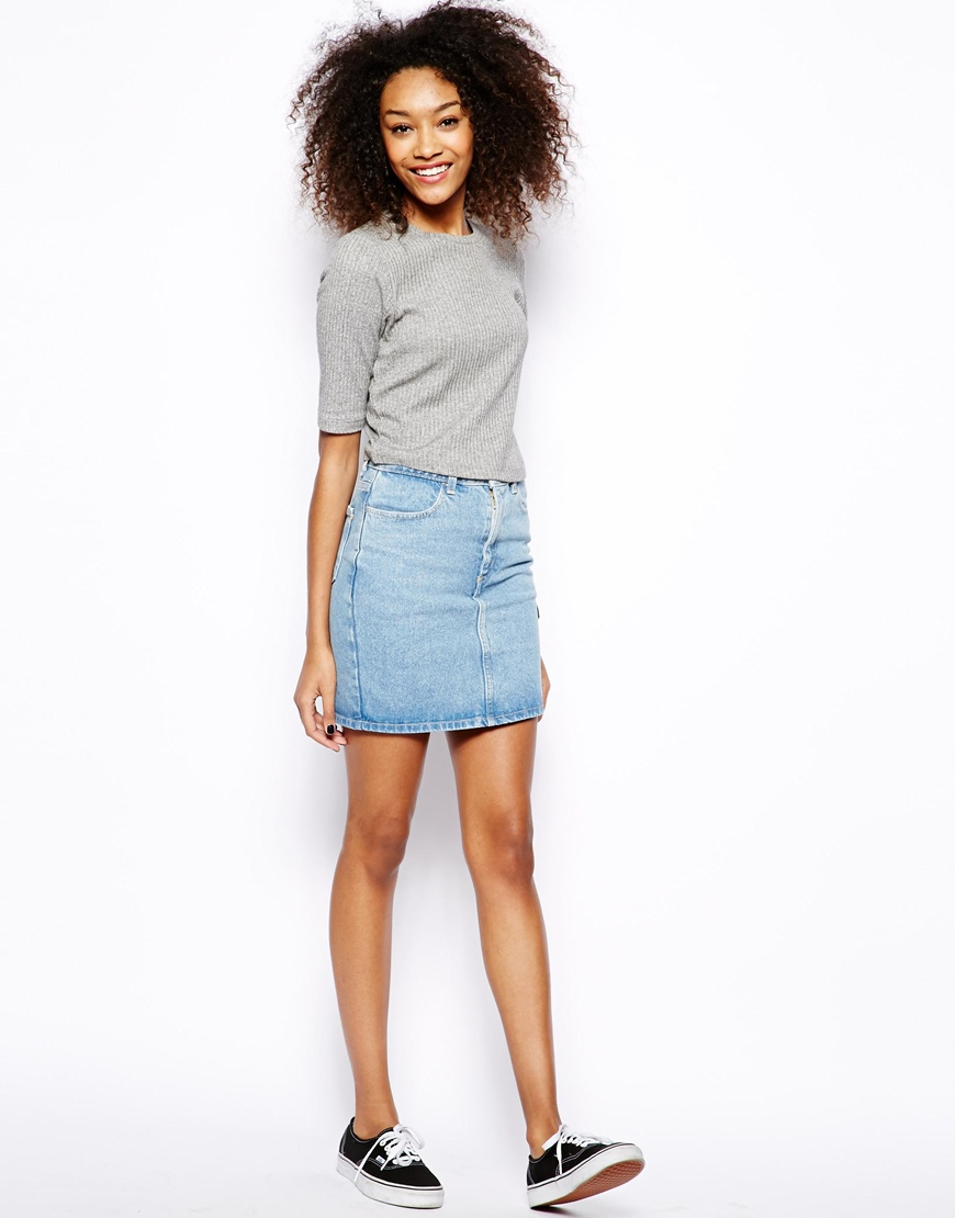 American Apparel High Waist Denim Skirt at asos.com