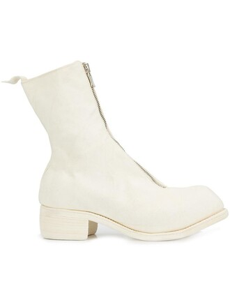 zip women boots leather white shoes