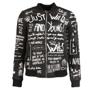 jacket black white print kristian kostov bomber jacket punk grunge quote on it