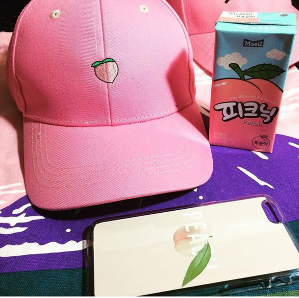98c17e559a0 hat cap fruits peach tumblr cute kawaii