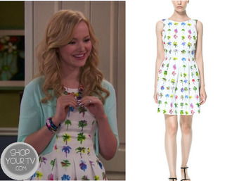 dress liv & maddie dove cameron liv rooney skater dress palm tree print palm tree zara zara dress celebrity style celebrity red carpet celebrity style steal style stealer dove cameron white christmas dress red belt tv show tv fashion