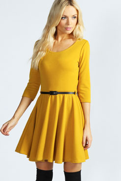 Layla Belted Skater Dress at boohoo.com
