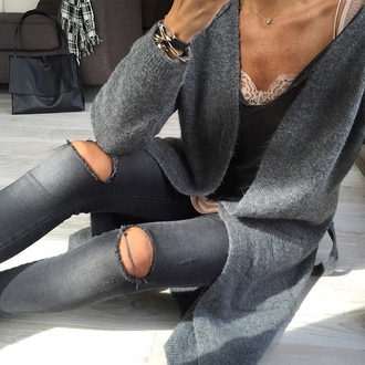 jeans grey hole grey jeans ripped jeans cardigan outfit spring gray cardigan slate gray slate grey grey sweater knitted cardigan