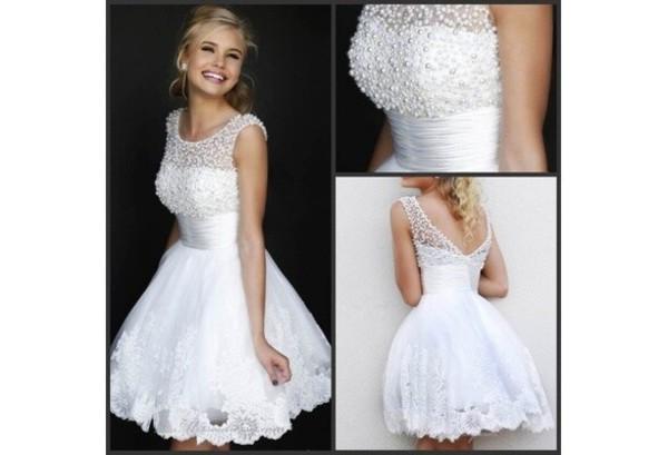 homecoming white dress pearls dress sheer neckline dress lace dress v-back dress