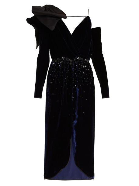 Johanna Ortiz dress velvet dress embellished velvet navy