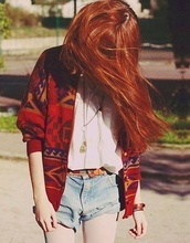 sweater,shorts,cardigan,cute,red,blue jean shorts,blouse,belt,aztec,jewelry,grunge,alternative,hipster,boho,soft grunge,white blouse,style,red hair,jacket,red jacket,hippie,navajo,coat,vintage,striped sweater