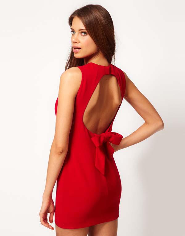 Red Sleeveless Backless Bow Bodycon Dress - Sheinside.com