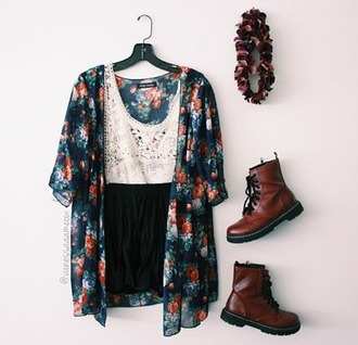 belt cardigan blue flowers floral coloured top elegant summer cute fashion girly shoes outift sheer kimono floral kimono summer outfits outfit shorts tank top colorful boots red headband dress teenagers new trendy black and white vintage pretty casual blouse white lace top