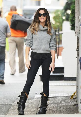 sweater boots turtleneck sweater grey sweater kate beckinsale fall outfits streetstyle celebrity shoes