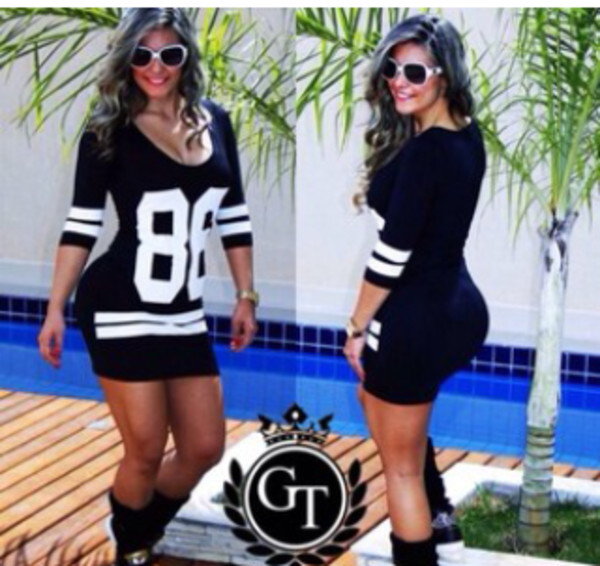 dress jersey dress black and white