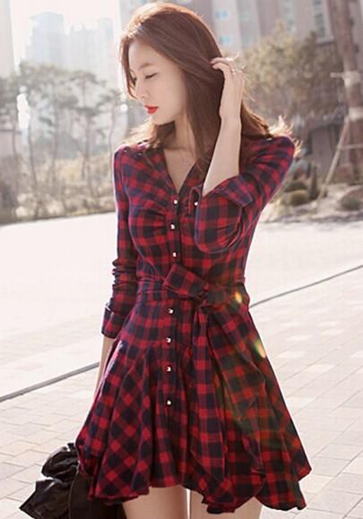 Red plaid single breasted ruffle belt wavy edge dress