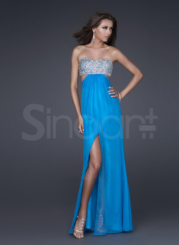 dress a-line for formal evening strapless empire waist floor length dress