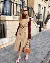 skirt,midi skirt,ballet flats,front slit skirt,high waisted skirt,blouse,bell sleeves,shoulder bag,sunglasses