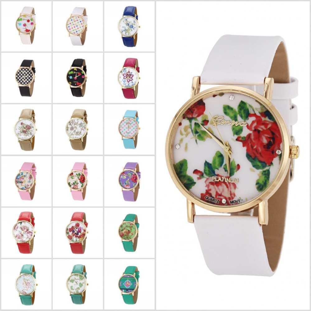 Dot Rose Flower GENEVA Women Casual Watch 2014 New Fashion Green Watch Hot Sales Floral Quartz Watches for Women-in Wristwatches from Watches on Aliexpress.com | Alibaba Group
