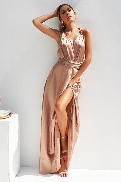 perfect date satin maxi dress