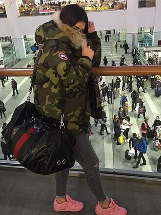 bag army green canada goose jacket louis vuitton green camouflage winter coat duffle coat duffle bag black red airport fashion