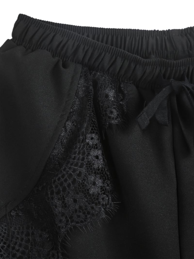 Black Elastic Waist Contrast Lace Shorts - Sheinside.com