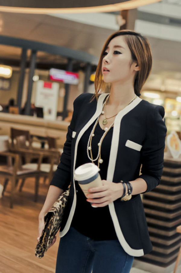 coat blazer women slim fit fashion style girl casual