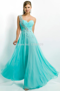 Aliexpress.com : Buy Custom Crystal One Shoulder A Line Light Blue Chiffon Prom Dresses 2014 Long Party Dress Gowns for Girls from Reliable dress duck suppliers on Silence Angle