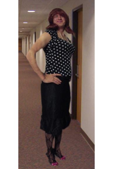 polka dots blouse skirt black skirt