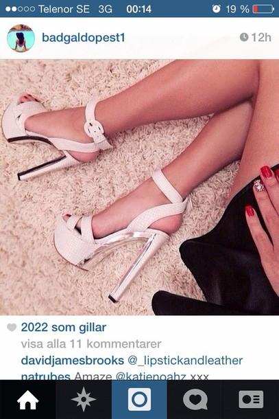 shoes white high heel shoe silver details ankle strap heels open toes instagram platform shoes heels
