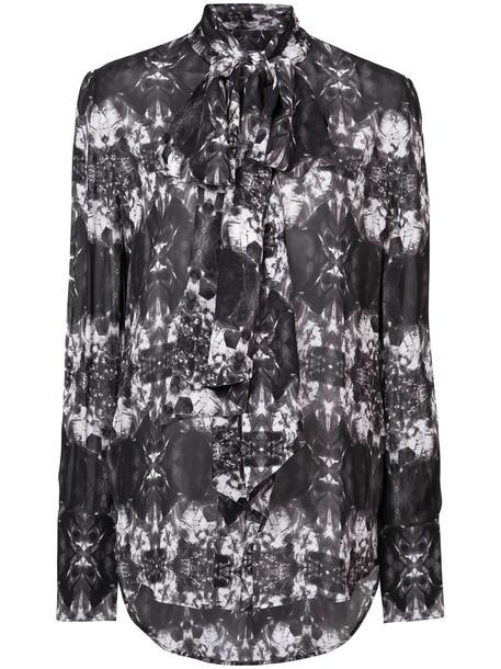 Thomas Wylde blouse printed blouse sheer women black silk top