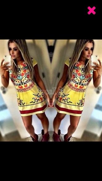 dress yellow yellow dress summer dress aztec dress