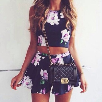 top floral crop top flowered shorts co-ord shirt