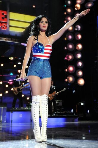 tank top katy perry short blue boots white red stars sexy american flag