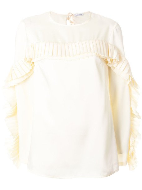 blouse pleated women white top