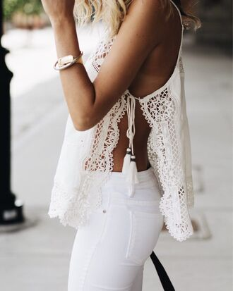 top summer top lace top slit top tassel white jeans summer outfits all white everything summer holidays cute outfits date outfit