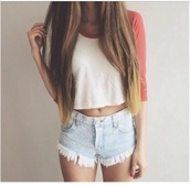 top,t-shirt,brandy melville,plain tshirt,red and white,baseball top,long hair,dip dyed hair,white,dip dyed,shorts,shirt,cute,red,white t-shirt,crop tops,blouse