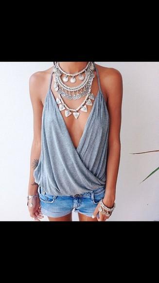 crop tops grey fashion blouse